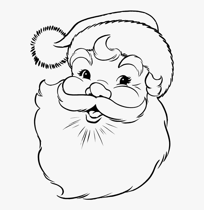 Face Of Santa Claus In Christmas Coloring Pages - Santa Claus Face Drawing, transparent png #4128213