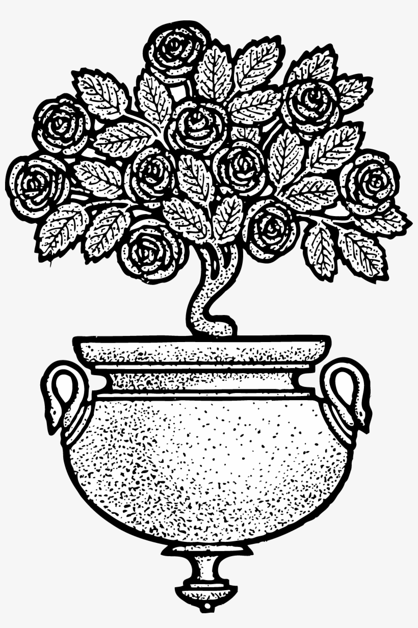 Vintage Flower Clipart Black And White Rose Pot Clipart Black And