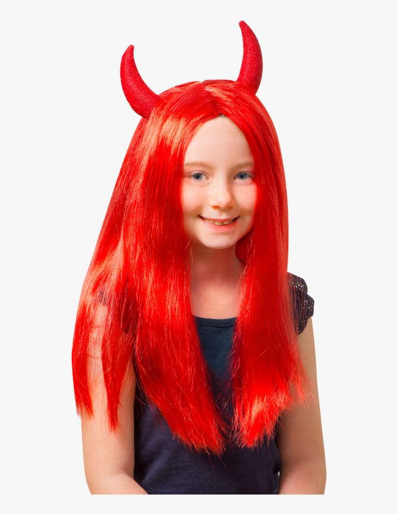 Red Devil Wig Halloween At Toys Png Devil Wig - Rød Djevelparykk Kids No Brand, transparent png #4132672