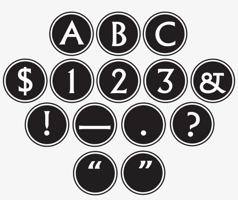 Big Bold Black & White Circle Letters - Letters In Black Circle, transparent png #4133812