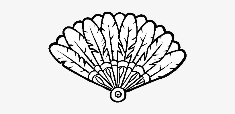 Dibujo De Abanico De Plumas Para Colorear - Hand Fan Coloring Page, transparent png #4138080