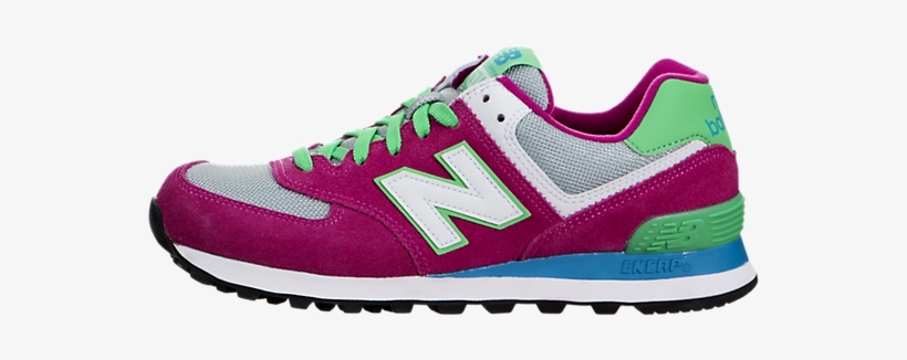 Newest New Balance Women 574 Trainers Pink Glow / Green - New Balance Men's 574 Classics Running Shoe, transparent png #4141328