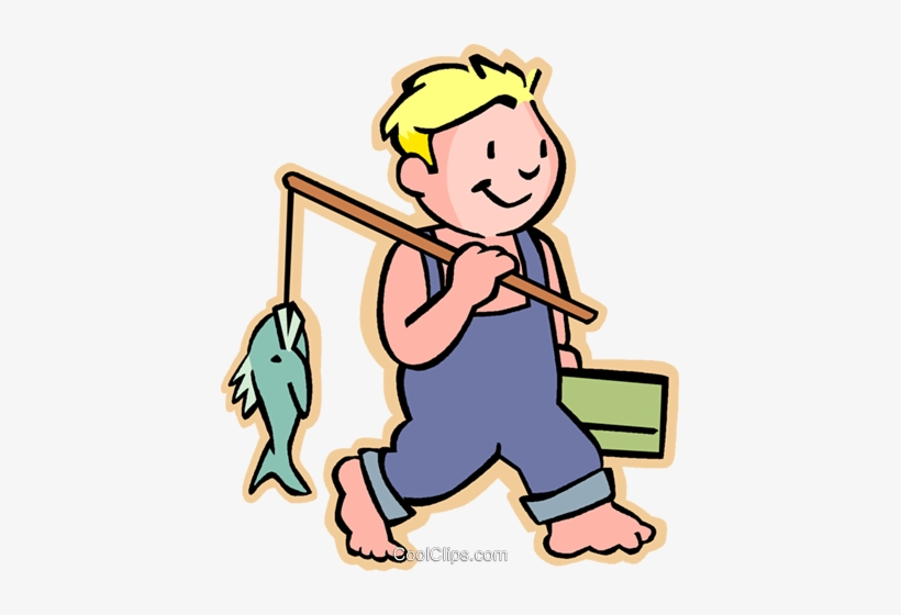 Little Boy With His Fishing Pole Royalty Free Vector - Fish With Boy, transparent png #4141888