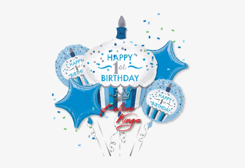 "1st Birthday Boy Cupcake Bouquet - 18"" 1st Birthday Cupcake Boy Balloon - Mylar Balloons, transparent png #4152194"