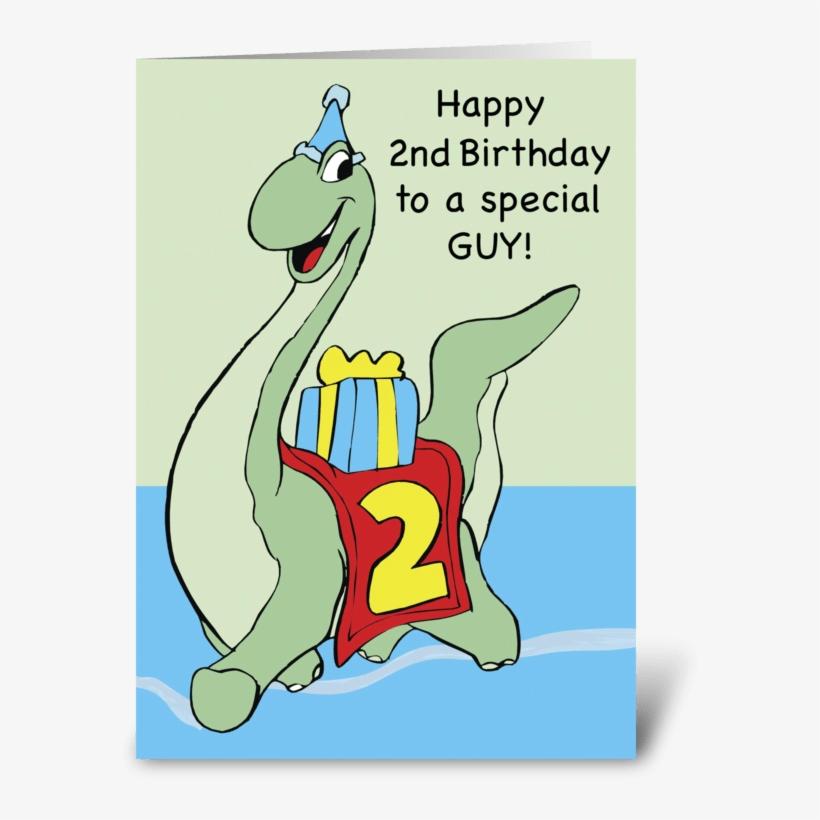 Dinosaur 2nd Birthday Boy Greeting Card