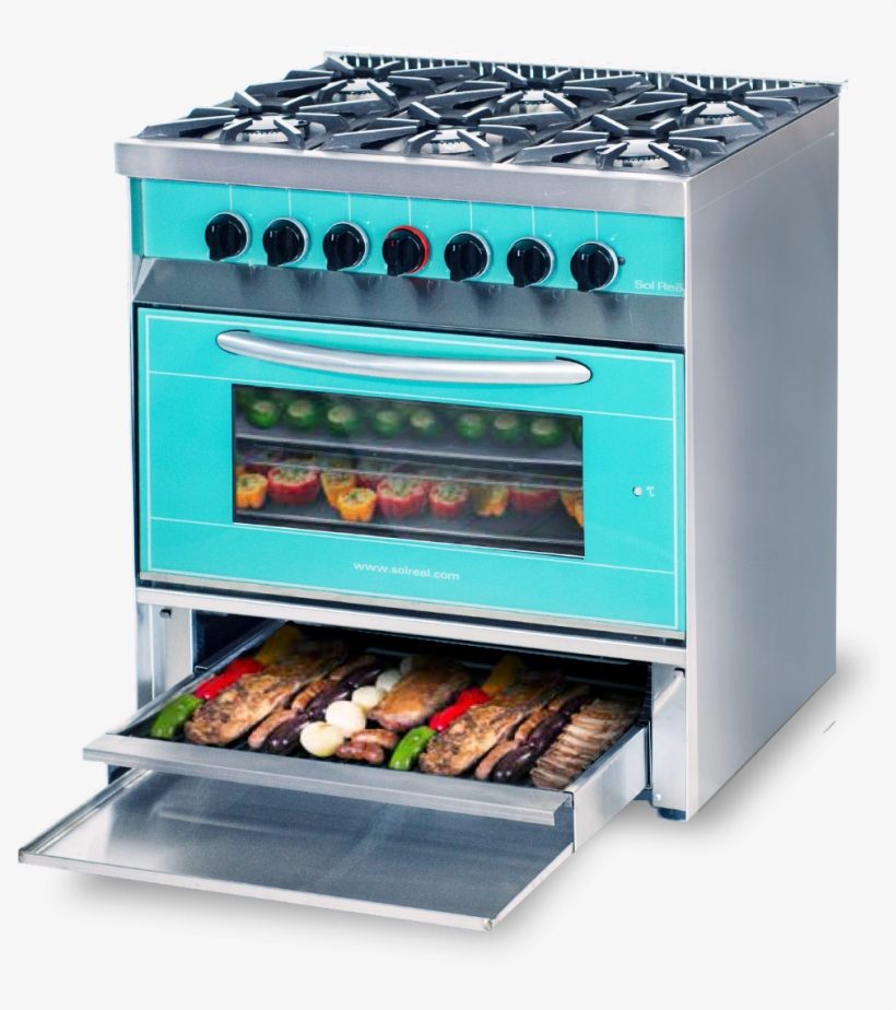 Cocina Mini Color 6 Hornallas Con Parrilla Sin Humo - Kitchen Stove, transparent png #4158657