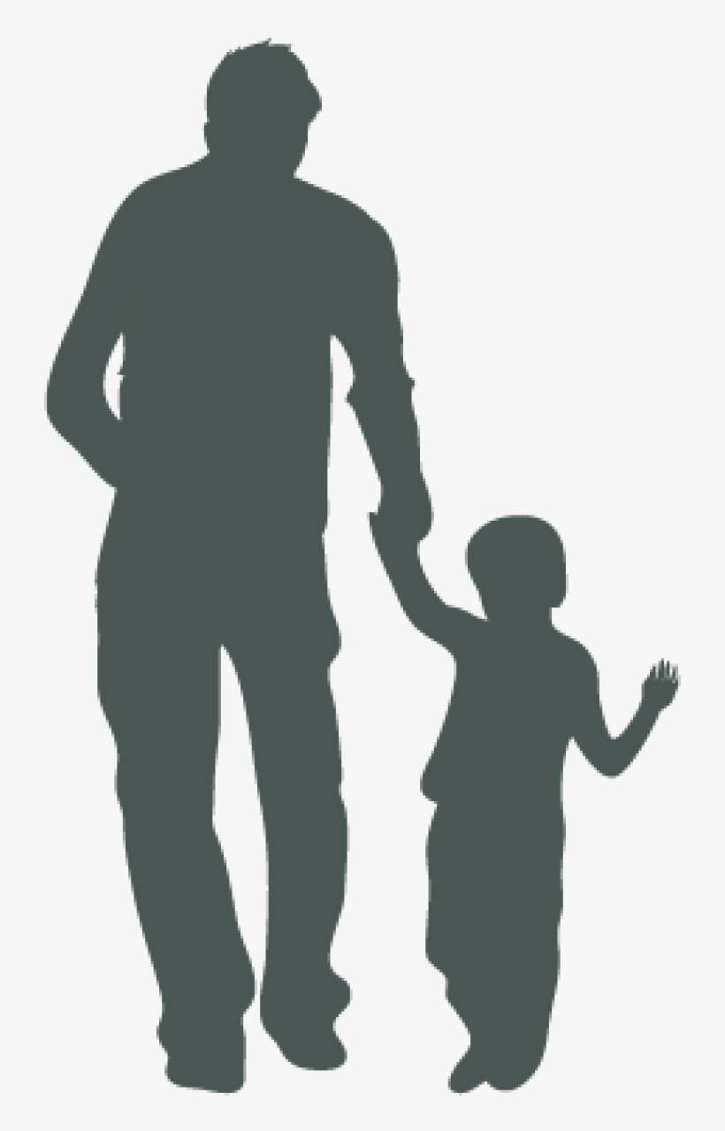 Silhuouette Of An Adult And A Child Holding Hands - Silhouette Man, transparent png #4168835