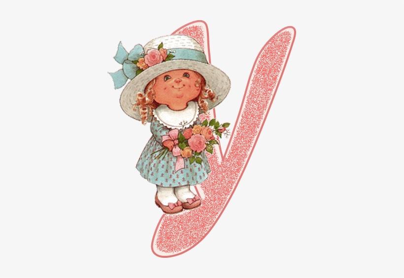 Alfabeto De Nenita Con Flores, Dibujo De Sarah Kay - Dibujos De Sarah Kay Para Imprimir Gratis, transparent png #4169538
