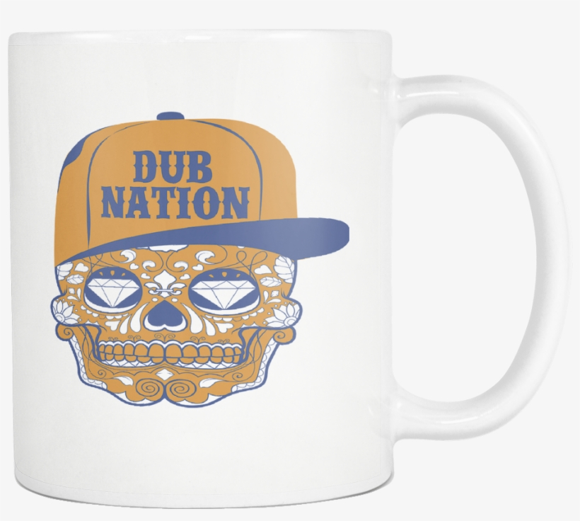 Dub Nation Candy Skull White 11 Ounce Coffee Mug - Coffee Cup, transparent png #4170271