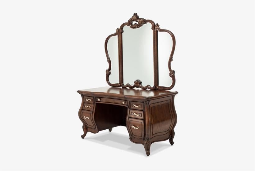 Amini Vanity Desk & Glass Top & Mirror - Aico Platine De Royale Glass Top Vanity, transparent png #4171591