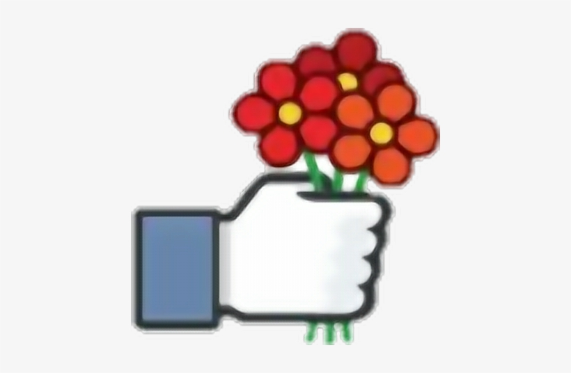 Facebook Like Mao Hand Curtir Flower Flor - Likes Stickers, transparent png #4171795