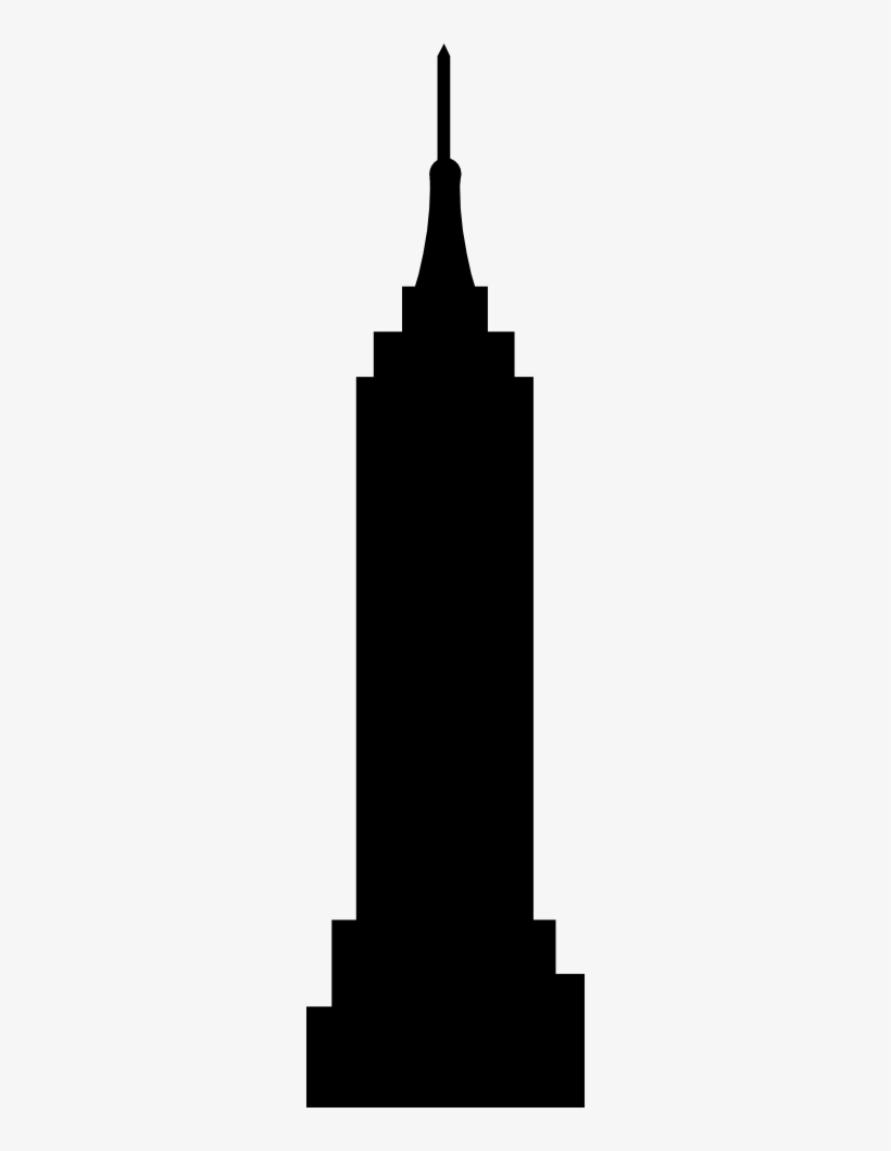 Icon - Empire State Building Silhouette Vector, transparent png #4172390
