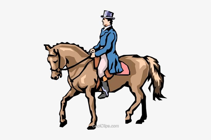 Man On Horseback Royalty Free Vector Clip Art Illustration - Man Riding Horse Clipart, transparent png #4180713