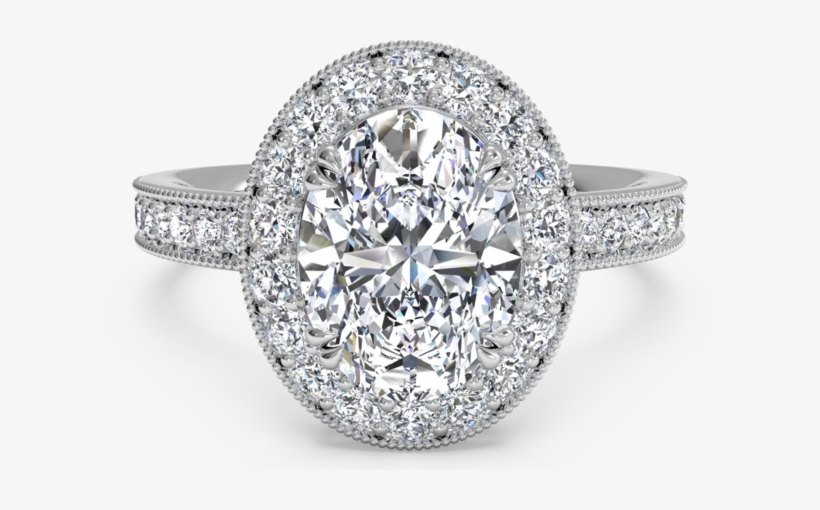 The Round Brilliant Cut Diamond Is The Most Popular - Vintage Oval Halo Engagement Rings, transparent png #4187358