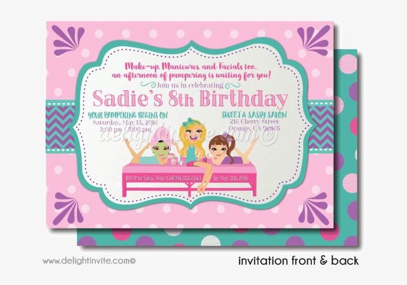 Spa Party Sleep Over Birthday Invitations - Sleepover - Free