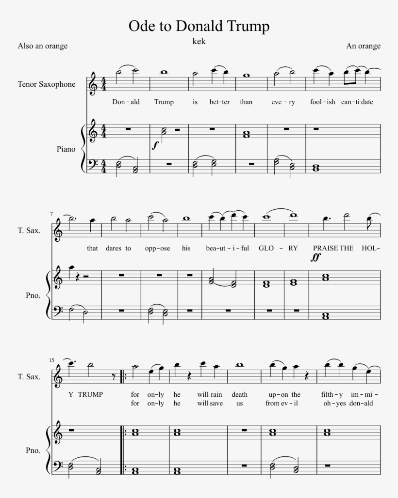 Ode To Donald Trump Sheet Music Composed By An Orange - Sheet Music, transparent png #422811