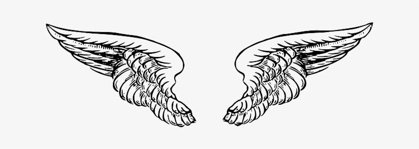 641dee518 Black, White, Cartoon, Angel, Wing, Wings, Tattoo - Angel Wings Drawing Png