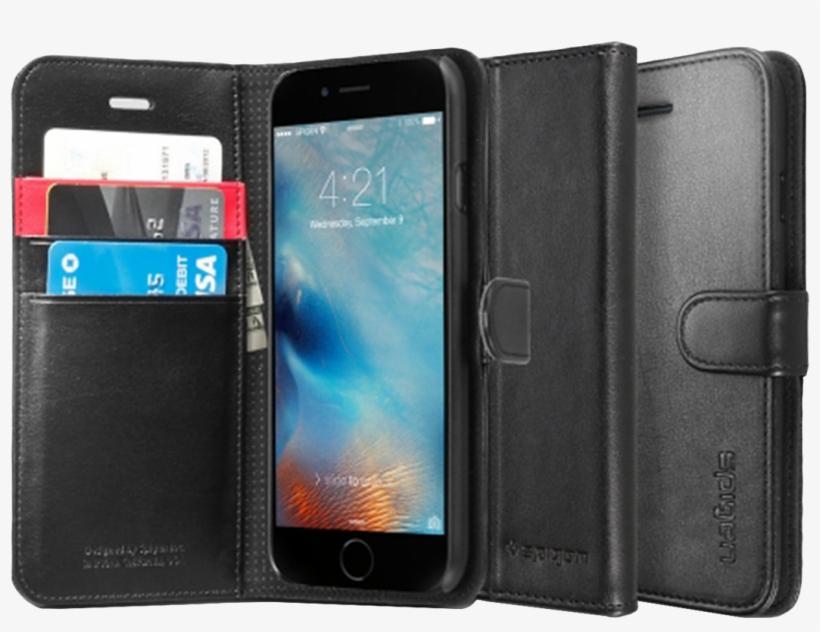 Spigen Wallet Case For Apple Iphone 6 / 6s - Spigen Wallet's Case For Iphone 6/6s Black, transparent png #429635