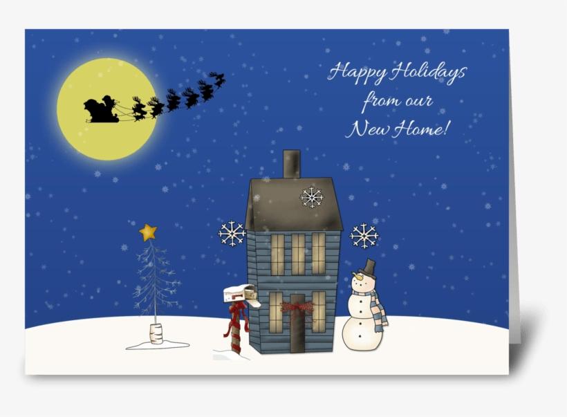 Snow Scene, Christmas Greeting New Home Greeting Card - Santa And His Reindeer Bib, transparent png #4201824