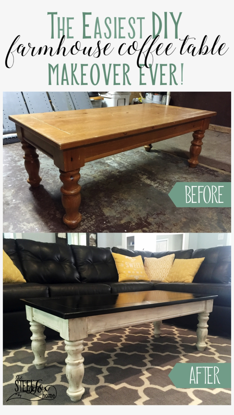 Easy And Inexpensive Farmhouse Style Coffee Table Makeover - Coffee Table, transparent png #4203329
