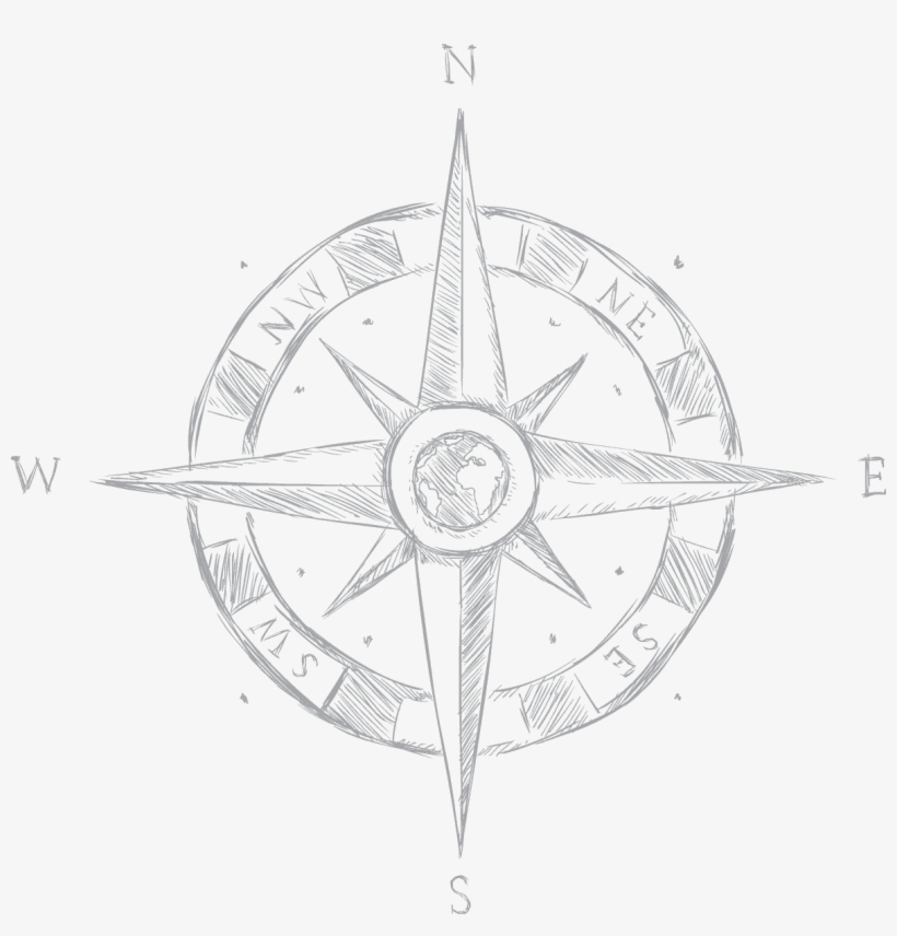 Compass - Compass Rose Drawing Easy, transparent png #4205680