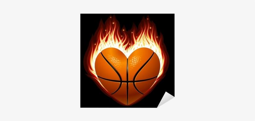 Vinilo Pixerstick Vector De Baloncesto En El Fuego - Basketball Heart On Fire, transparent png #4211593