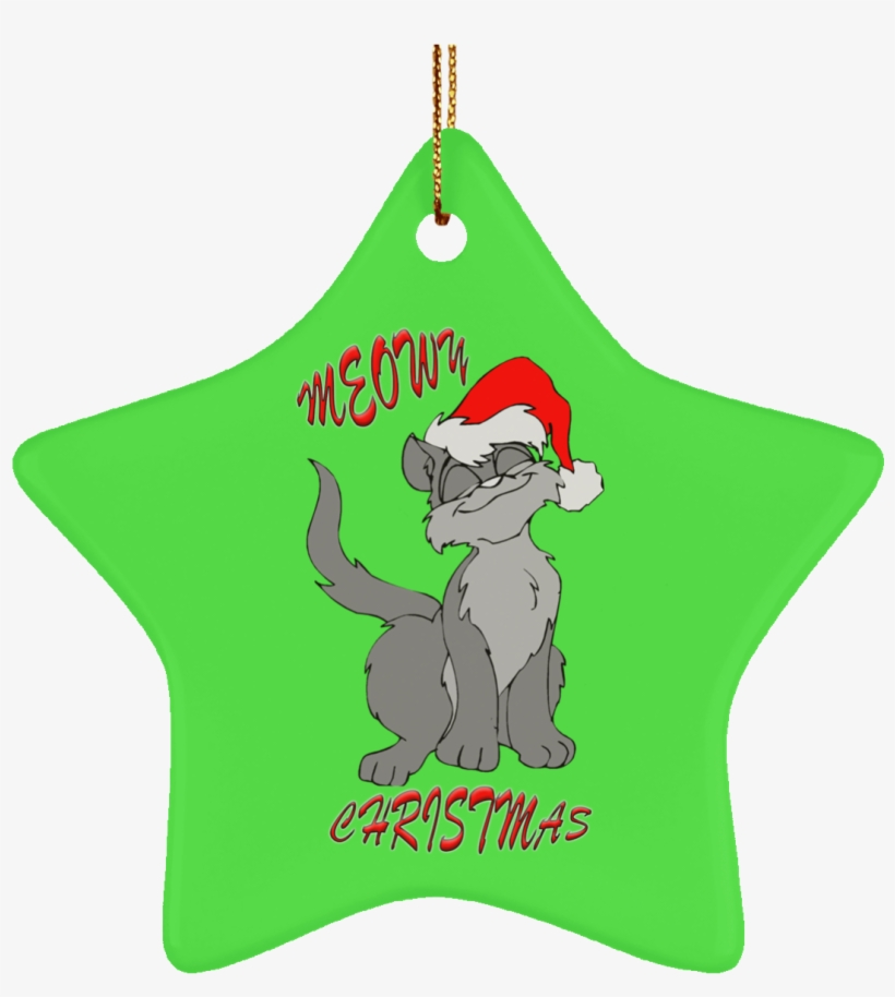 Meowy Cat Christmas Tree Ornament Green Round Oval - Christmas-cat Note Cards (pk Of 10), transparent png #4213627