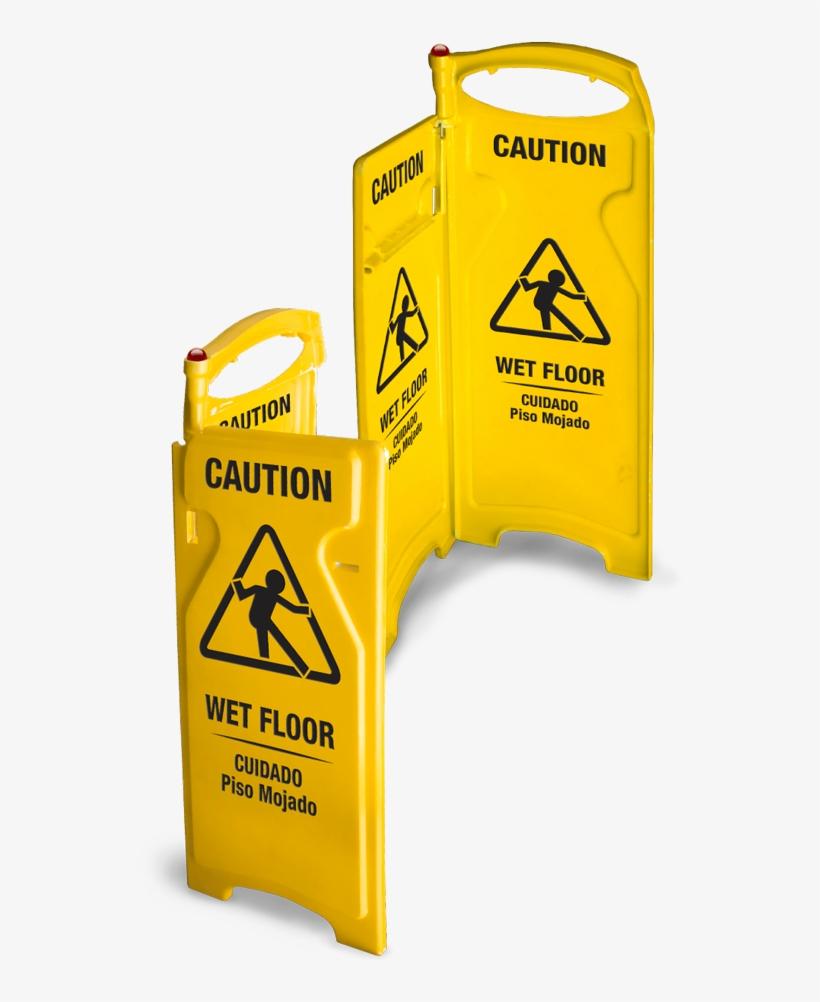 Folding Wet Floor Sign - Delamo 8011-6 Wet Floor Sign Side Hinge (pack Of 6), transparent png #4213971