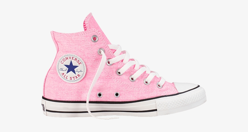 7bf4d558310 Converse Chuck Taylor All Star Hi Top Washed Neon Pink - White High Top  Converse Transparent