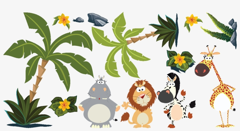 Sticker Animaux Dans La Jungle Ambiance Sticker Col - Sticker Jungle Plante, transparent png #4219658