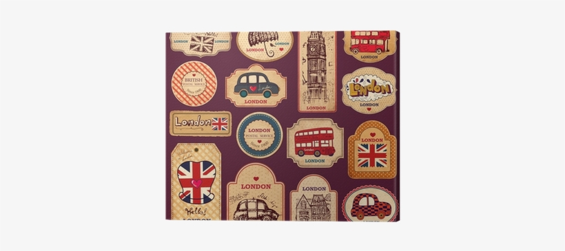 Vintage Tags And Labels With London Symbols Canvas Symbole