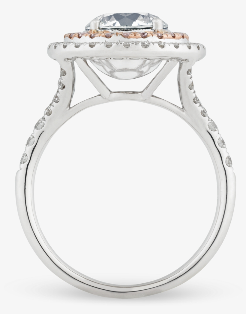 Fancy Very Light Grey Diamond Ring, - White Gold Ring Rose Gold Halo, transparent png #4232796