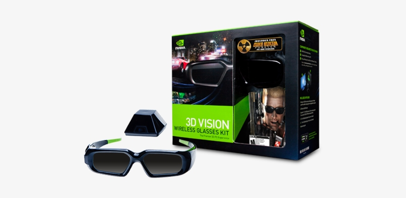 3d Vision Wireless Glasses Kit - Nvidia 3d Vision Kit 3d Glasses - Active Shutter, transparent png #4236295