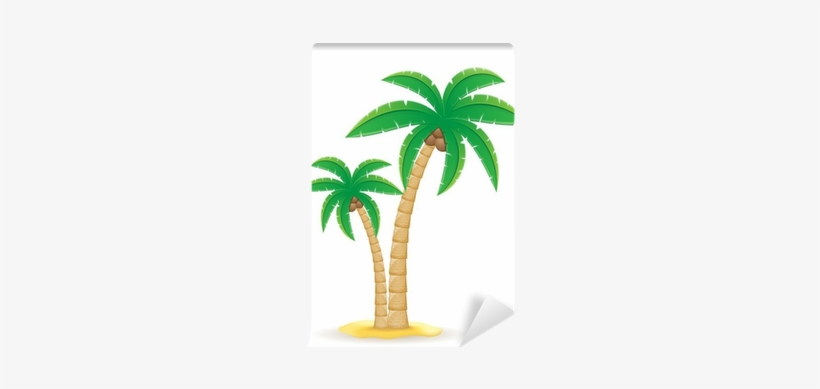 Palm Tropical Tree Vector Illustration Wall Mural • - Coconut Tree Clipart Png, transparent png #4241012