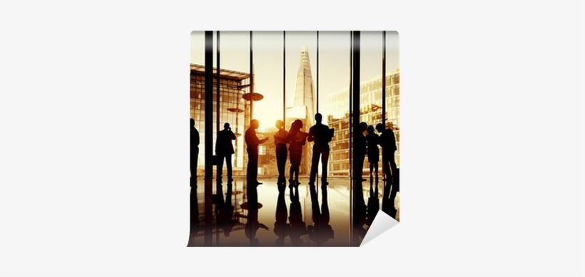 Silhouette Of Business People In London Office Wall - People Looking At Tall Building, transparent png #4248109