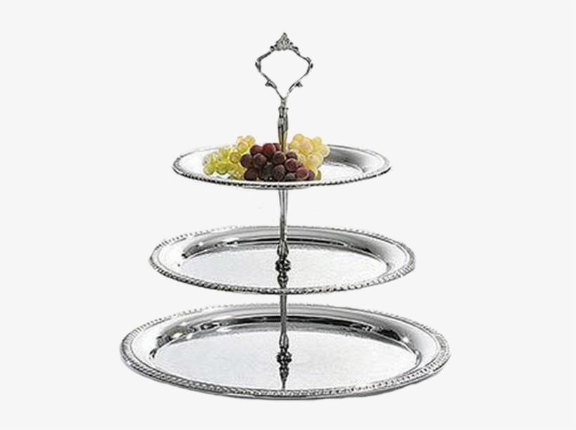 3-tier Chrome Tray - Distinctive Decor Chrome Plated Three Tier Dessert, transparent png #4249399