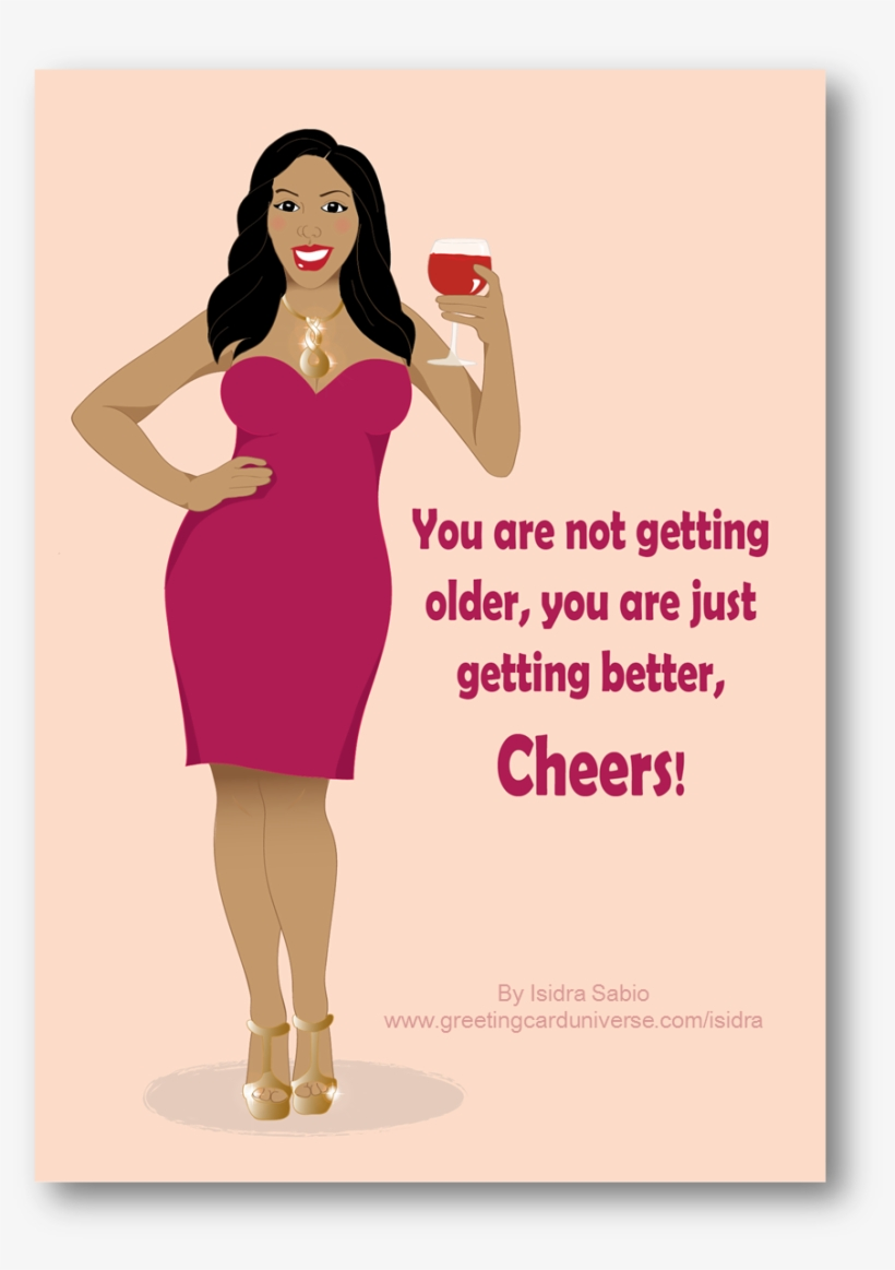 Birthday Card For Women Shows A Beautiful Curvy Black