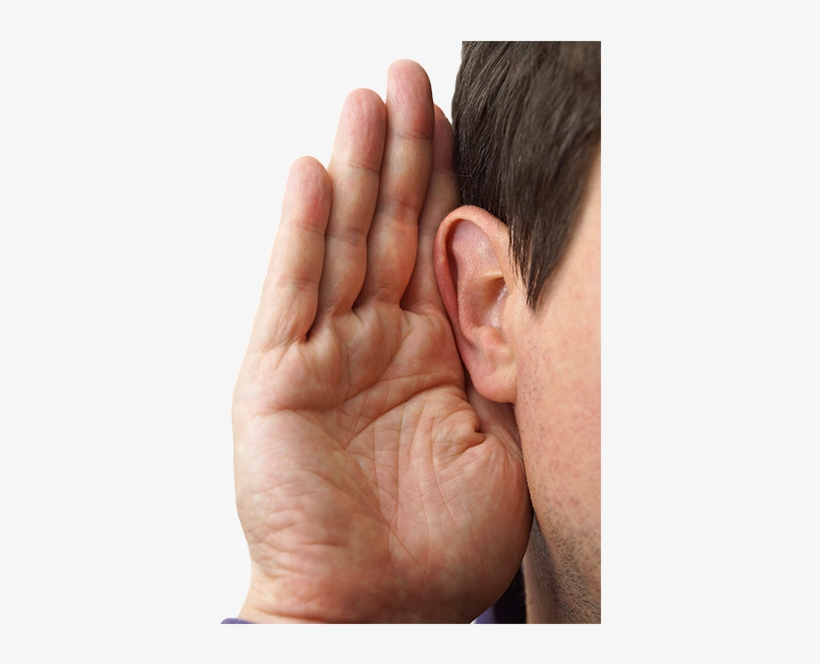Your Comments And Ideas About The Service You Received - Hand On Ear, transparent png #4261690