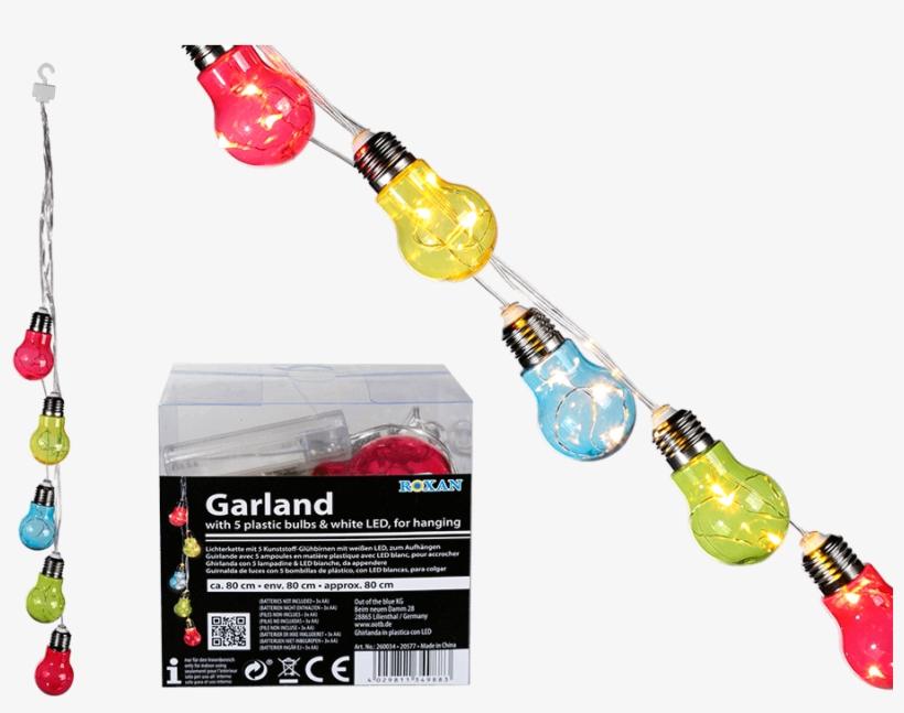 Guirnalda De Luces Con 5 Bombillas De Plástico Multicolor - Led Colour Light Bulb Fairy Lights, transparent png #4267078
