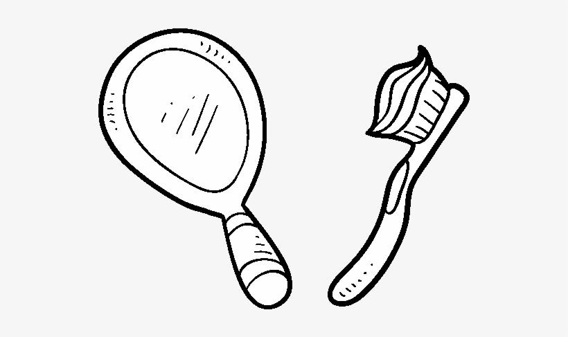 Desenho De Espelho E Escova De Dentes Para Colorir Colorir