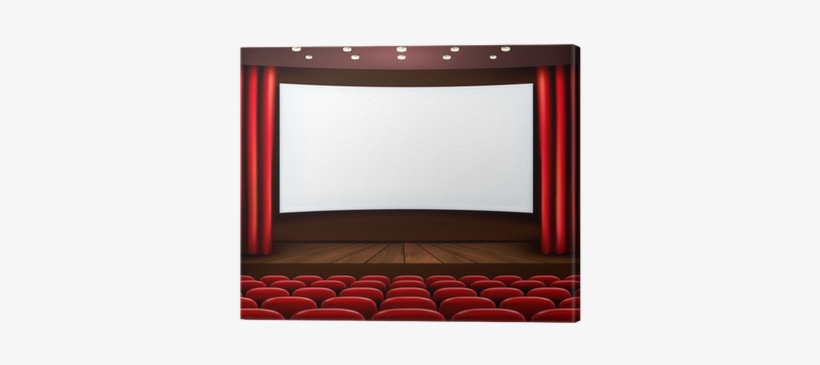 Cinema With White Screen, Curtain And Seats - Canvas Print, transparent png #4278852