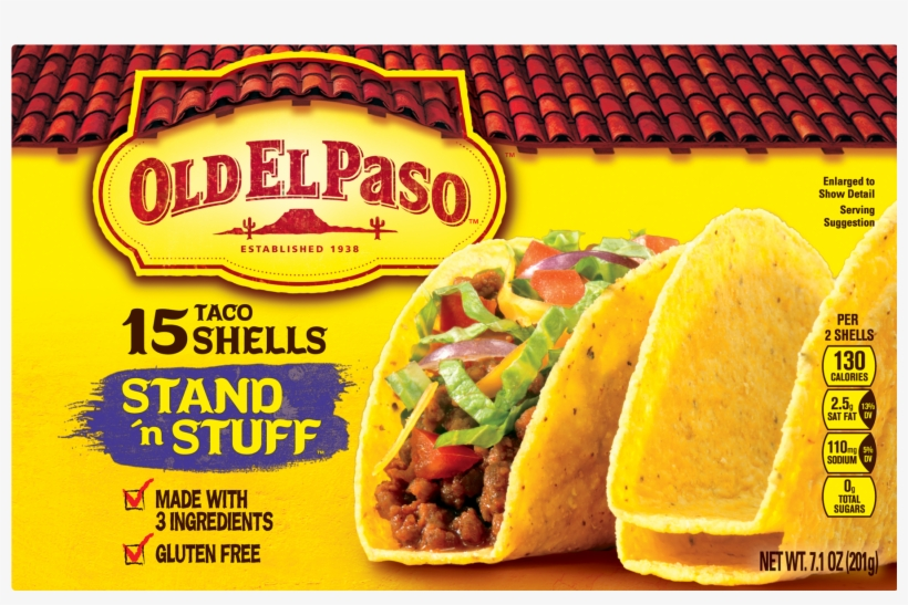Old El Paso Taco Shells, Stand 'n Stuff, Gluten Free, - Old El Paso Mexican Rice Nutrition Facts, transparent png #4294539