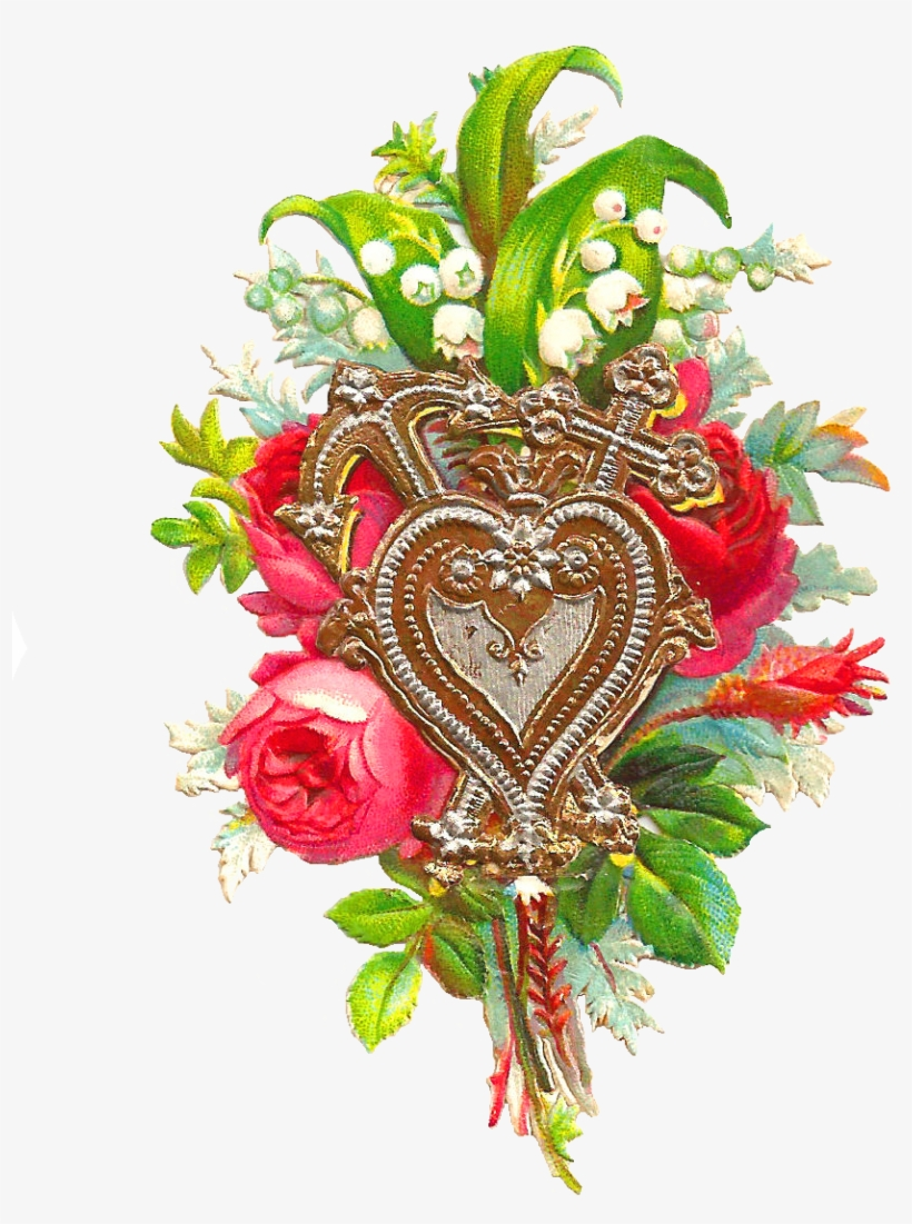 Free Flower Clip Art - Beautiful Love Flower With Heart, transparent png #430006