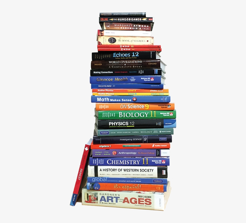 Book Stack No Back Reduced Web - Canadian High School Textbooks, transparent png #432158