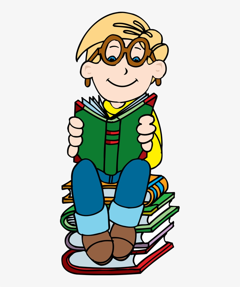 Boy Reading On Stack Of Books Clipart Clipartfest - Boy Reading Book Clipart Png, transparent png #432782