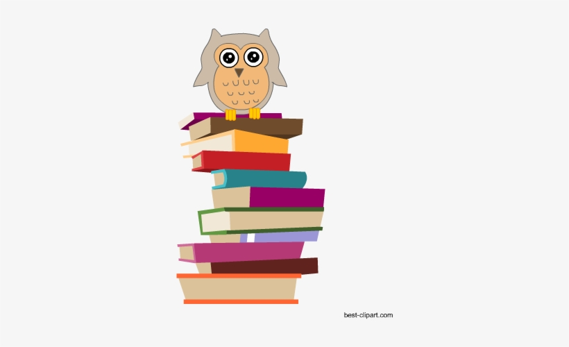 Owl Sitting On A Pile Of Books Free Clipart Image - Clip Art, transparent png #433225