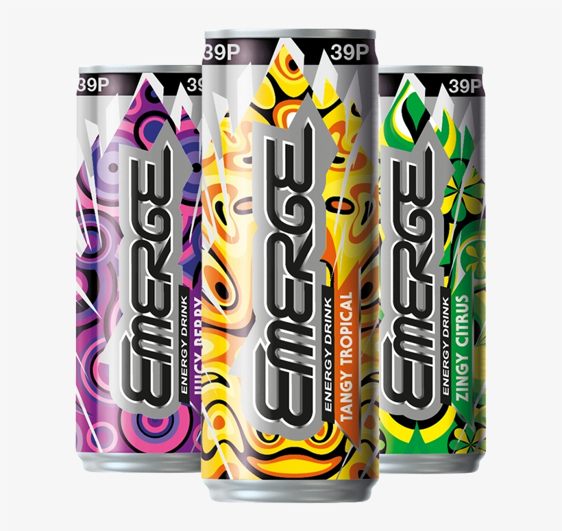 Carbonated Tropical Flavour Energy Drink With Taurine, - Emerge Zero Sugar Fridge Pack, transparent png #436998