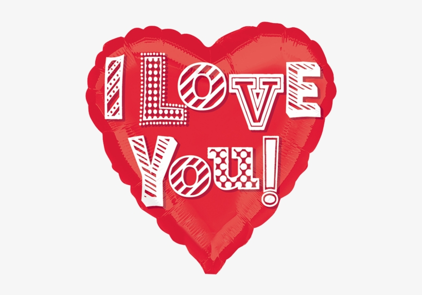 """18"""" I Love You Doodle Foil Heart Balloon - Love You Heart Png, transparent png #437149"""