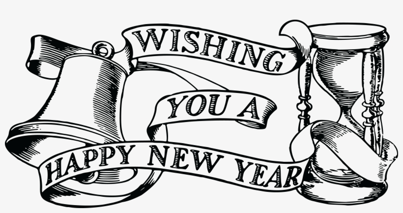 Free Clipart Of A Bell Hourglass And Happy New Year - Happy New Year 2019, transparent png #439020