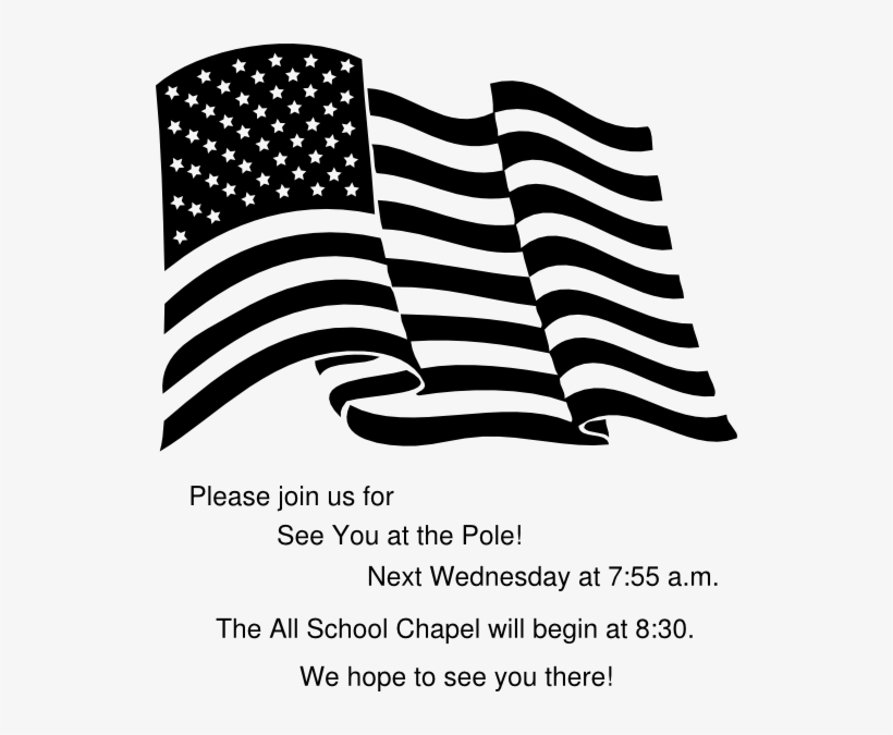 Flyer Cliparts - Black And White Waving American Flag, transparent png #4304350